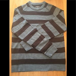 AEROPOSTALE SWEATER SZ M GRAY AND BROWN CREWNECK